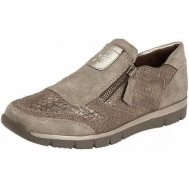 Cavell Stone / Beige Reptile Print Zip-Up Trainer Shoes