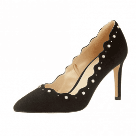 Popple Black Imi-Suede Court Shoe