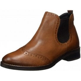 D8581-25 Brown Leather Brogue Ankle Boot