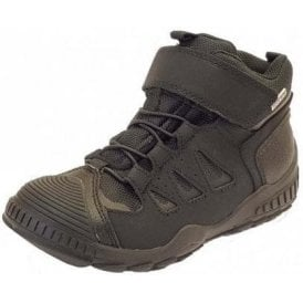 High Charge Black Leather Boys Waterproof Boots
