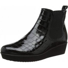 Ghost 96.050.97 Black Patent Croc Wedge Ankle Boot