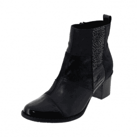 Z7686-14 Marine Navy Patent / Leather Combo Ankle Boot