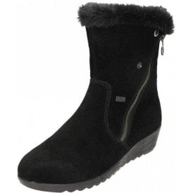 X2470-00 Black Suede Water Resistant Wedge Ankle Boot
