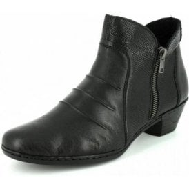 76962-00 Black Leather / Reptile Print Ankle Boot