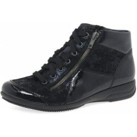 L3633-14 Dark Navy Patent / Leather Twin Zip Ankle Boot