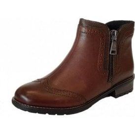 Y3361-22 Brown Leather Brogue Ladies Ankle Boot