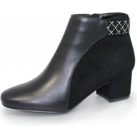 Cayley GLC651 Black Faux Leather / Suede Ladies Ankle Boot