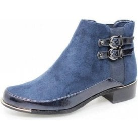 Pippa GLC688 Navy Faux Suede / Patent Ladies Ankle Boot