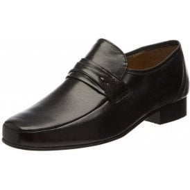 Regent Black Leather Slip on Shoe