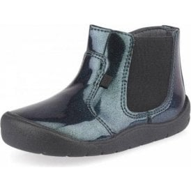 First Chelsea Black Glitter Patent Girls Boot