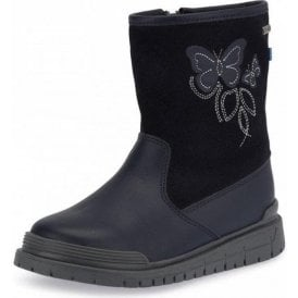 Tidal Navy Leather Waterproof Girls Boot