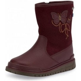 Tidal Wine Leather Waterproof Girls Boot