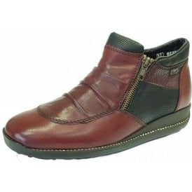 44280-35 Wine / Black Leather Twin Zip Water Resistant Ankle Boot