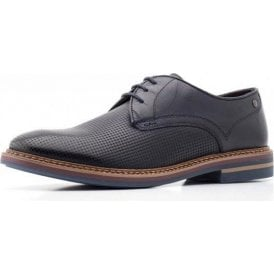 Blake Navy Burnished/Print Leather Lace Oxford Mens Shoe