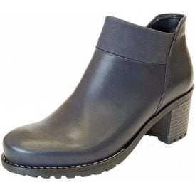 67361-75 Dark Navy Leather Ladies Ankle Boot