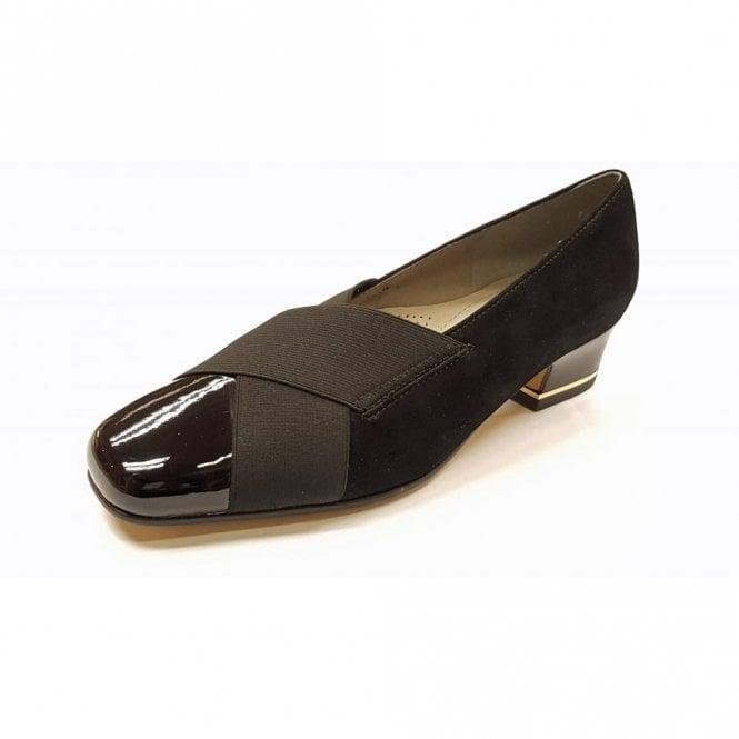 3398f8960358 41820-01 Black Patent Toe Cap   Suede Court Shoe
