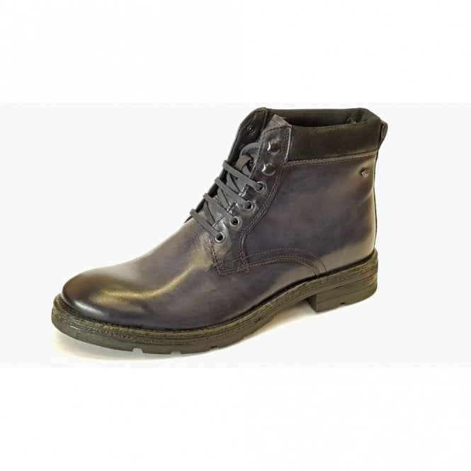62e4dbd6b23 Base London Panzer Washed Navy Blue Leather Boot