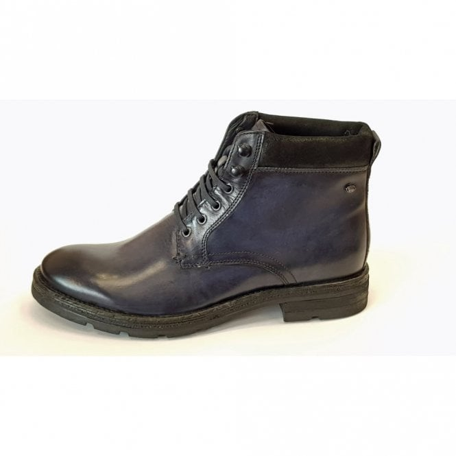 8d562293a3e46 Base London Panzer Washed Navy Blue Leather Boot