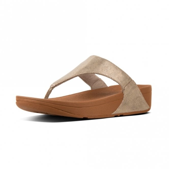 2fe72b3b380 Lulu Toe-Thong Gold Shimmer Print Sandal