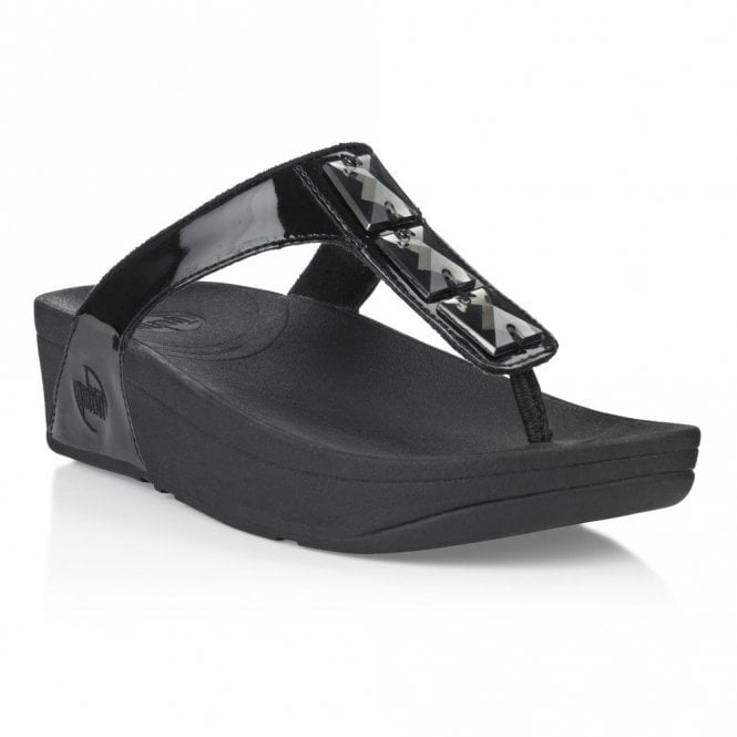 e37a12323 FitFlop Pietra Black Patent Sandal - Ladies from Crichton Shoes UK