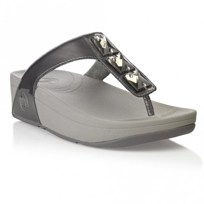 c4969dd71 FitFlop Pietra Pewter Patent Sandal - Ladies from Crichton Shoes UK