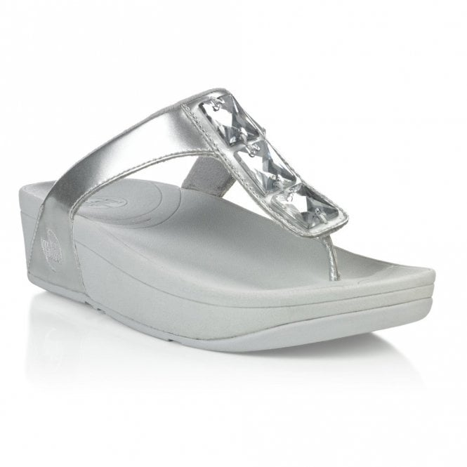 c140c571c955b8 FitFlop Pietra Silver Patent Sandal - Ladies from Crichton Shoes UK