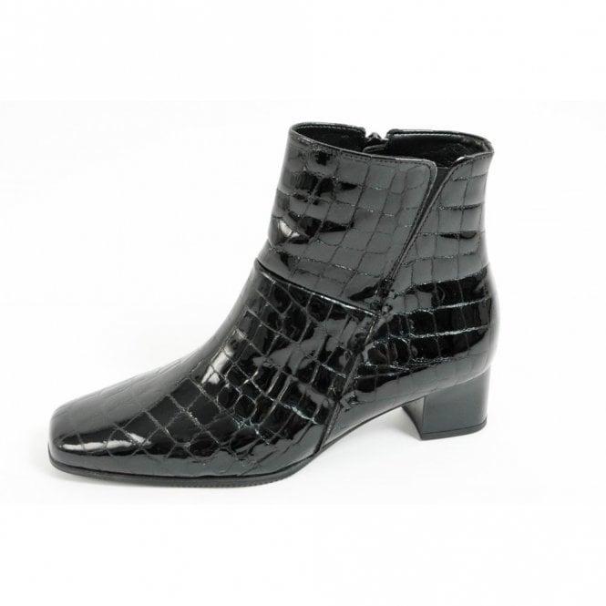 e01bdb7d36d Bassanio 36.620.97 Black Patent Croc Ankle Boot