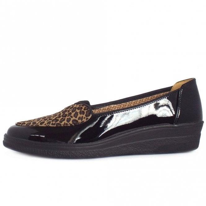 33989718b0b9 Blanche 56.404.87 Black Patent With Leopard Print Pump Shoe