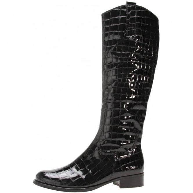 da2846051a3 Gabor Brook S 71.648.97 Black Patent Croc Boot