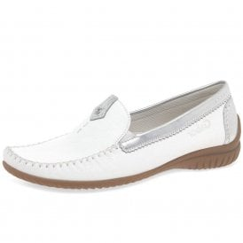 07b2d730d363 California 26.090.50 White   Silver Leather Moccasin Shoe