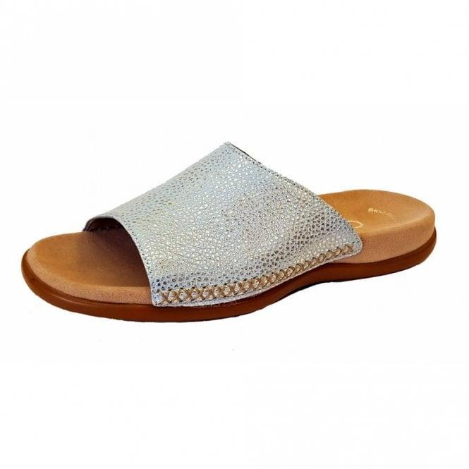 9bcaa785c134 Eagle 83.705.26 Sky Blue Metallic Leather Mule Sandal