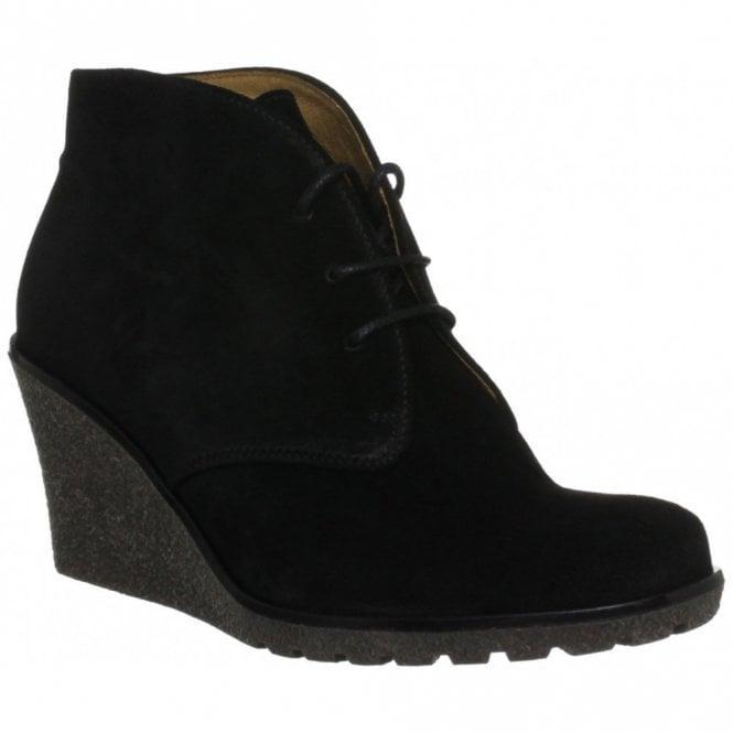 Black Suede Wedge Ankle Boot - Ladies