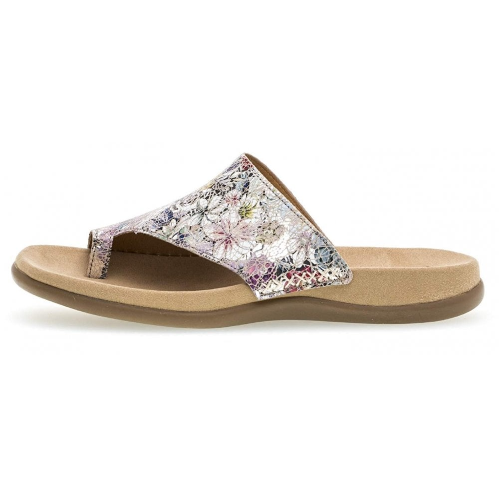 Gabor 'Lanzarote' White and Grey Floral Toe Post Sandal