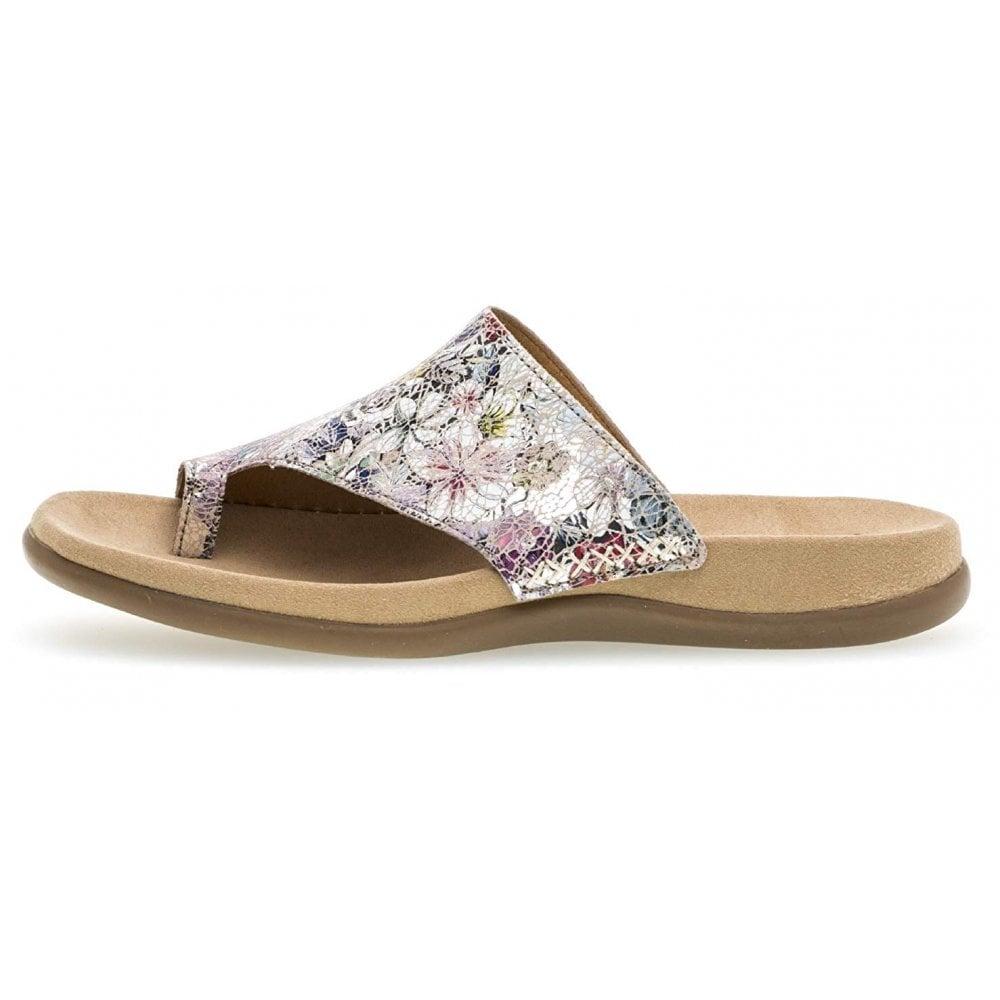 d42e6f2bcd94 Lanzarote 23.700.53 Silver Leather Flower Garden Toe Post Sandal