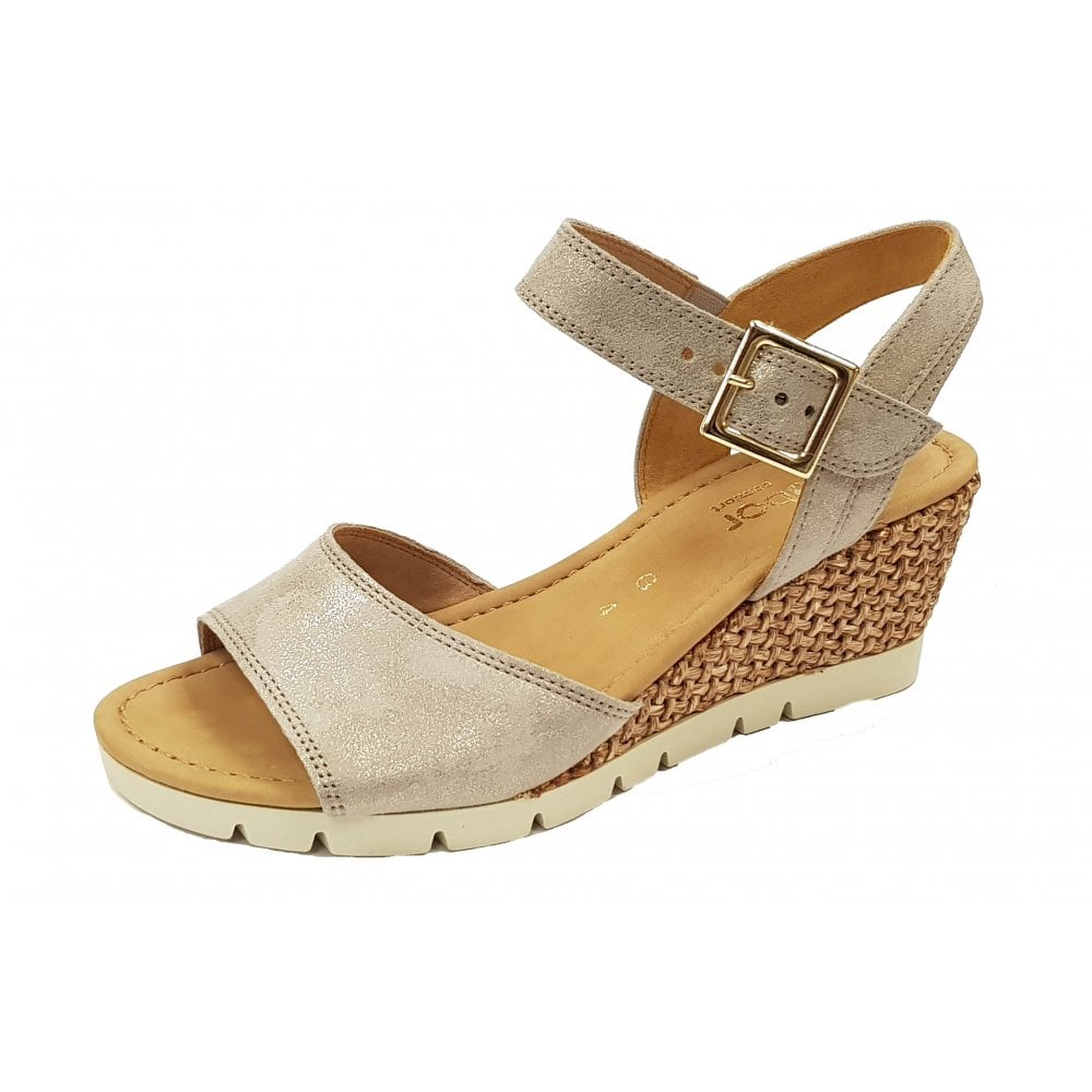 best website a few days away sale retailer Gabor Nieve 22.842.95 Beige Metallic Leather Wedge Sandal