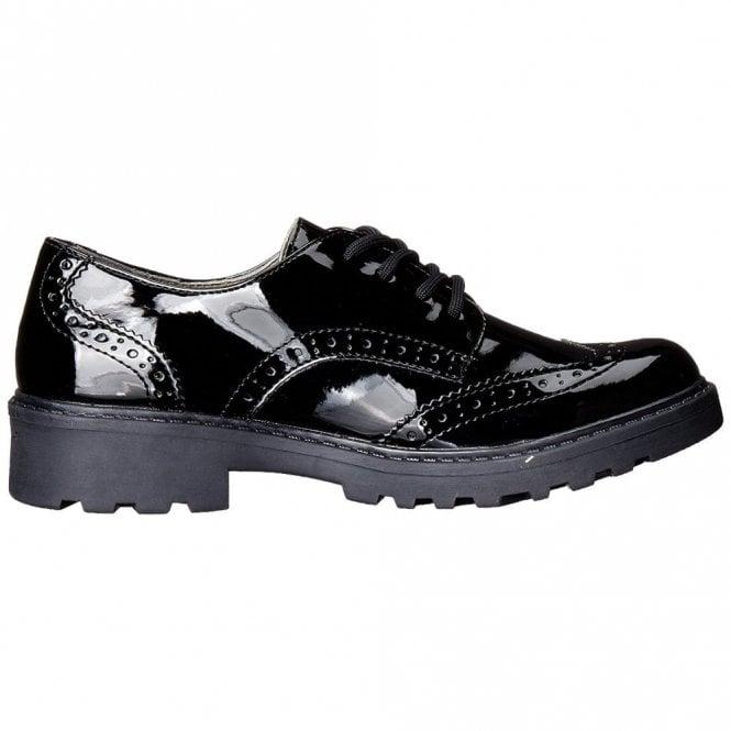 schönen Glanz kinder exklusives Sortiment Geox J Casey Black Patent Brogue Girls School Shoe