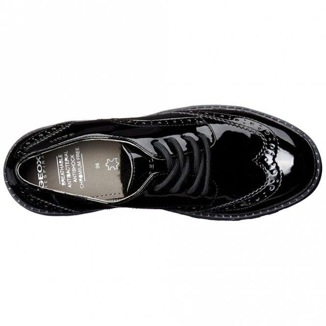 Schuhwerk Sonderteil reduzierter Preis Geox J Casey Black Patent Brogue Girls School Shoe