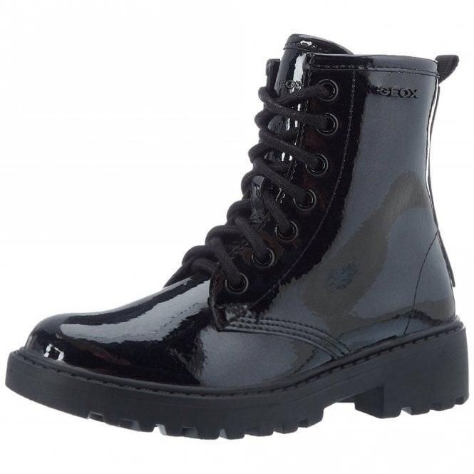 J5420K Navy Glitter Patent Girls Boot