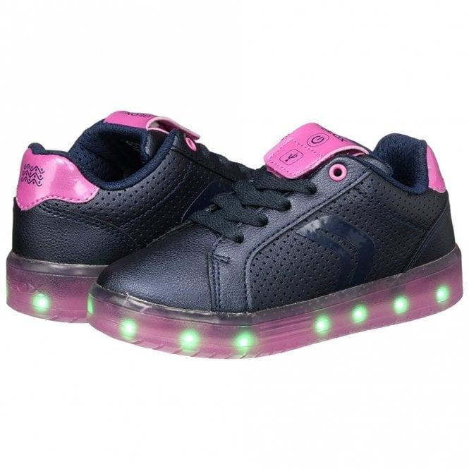 J Kommodor G J744HA Navy   Fuchsia Girls Trainer with Flashing Lights 8cef792d512