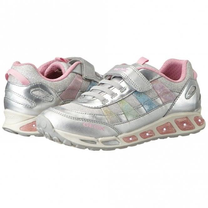 offizieller Preis am beliebtesten heißes Produkt Geox J Shuttle G J7206A Silver / Multicolor Girls Trainer Shoe with  Flashing Lights