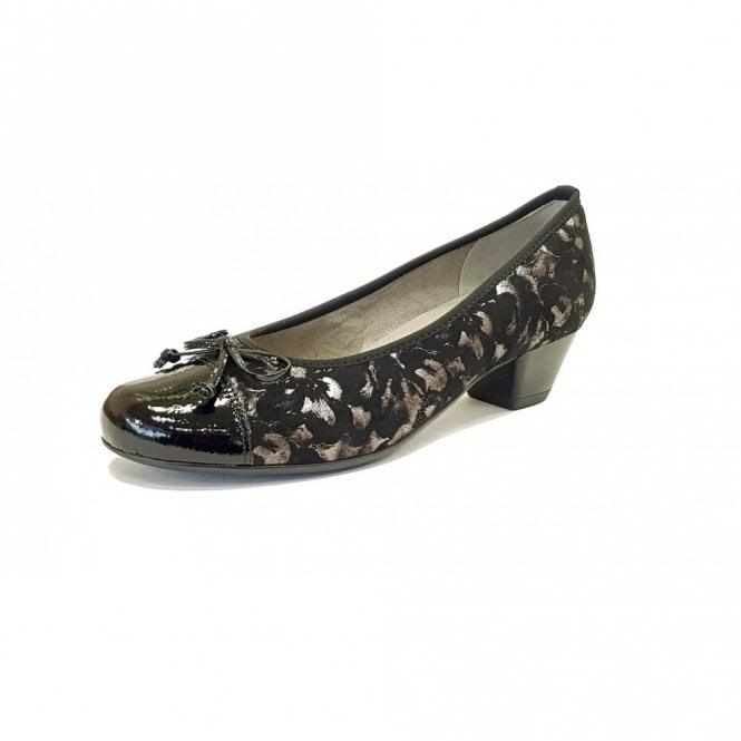 85a22620ca78 63606-78 Black Crinkle Patent Toe Cap With Floral Pump Shoe