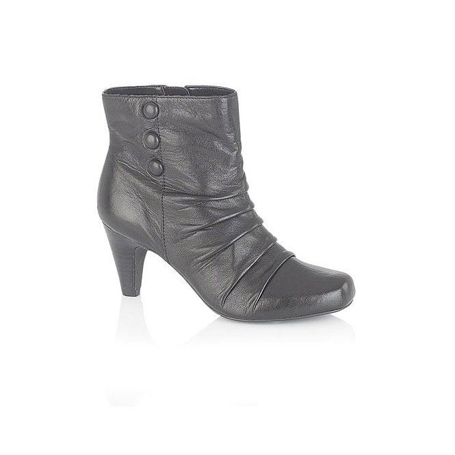 Lotus Alamance Black Leather Ankle Boot