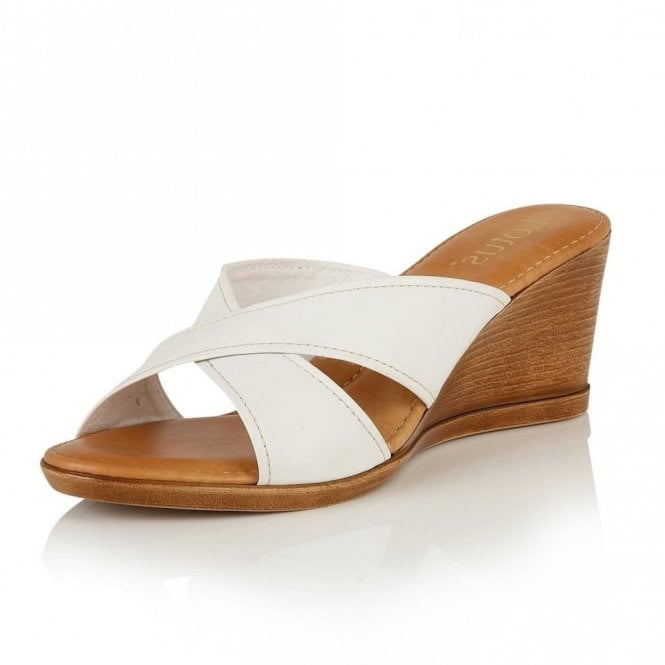 e69d8d59a8eb Ashling White Leather Wedge Mule Sandals