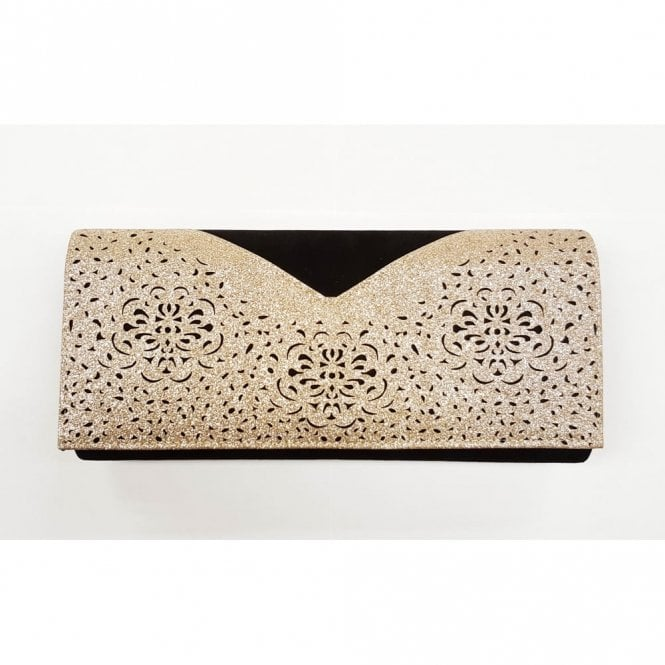 8eb6a7cfb Fidda Black & Light Gold Glitz Clutch Bag