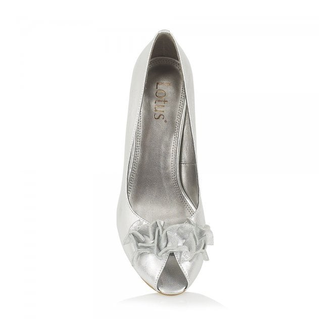 da394b6a0d766 Lotus Flamenca Silver Leather Peep Toe Shoe