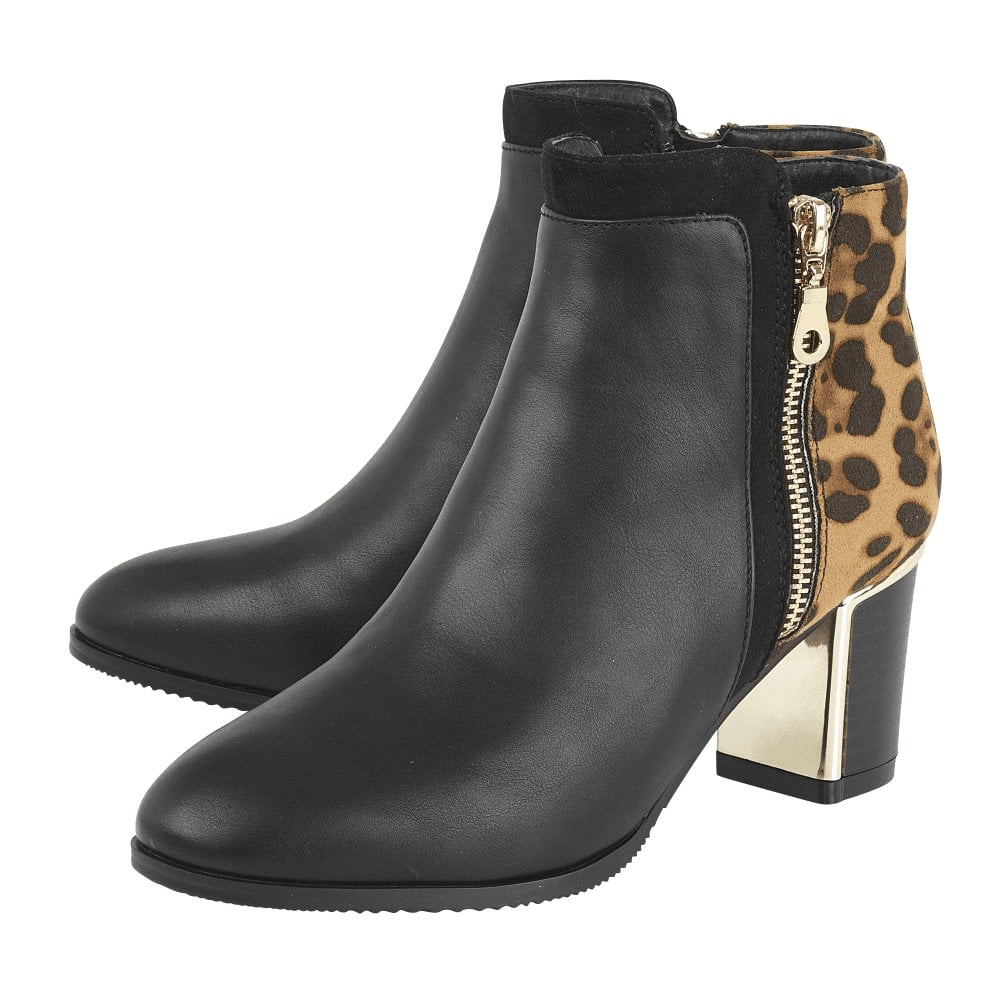 heeled animal print ankle boots
