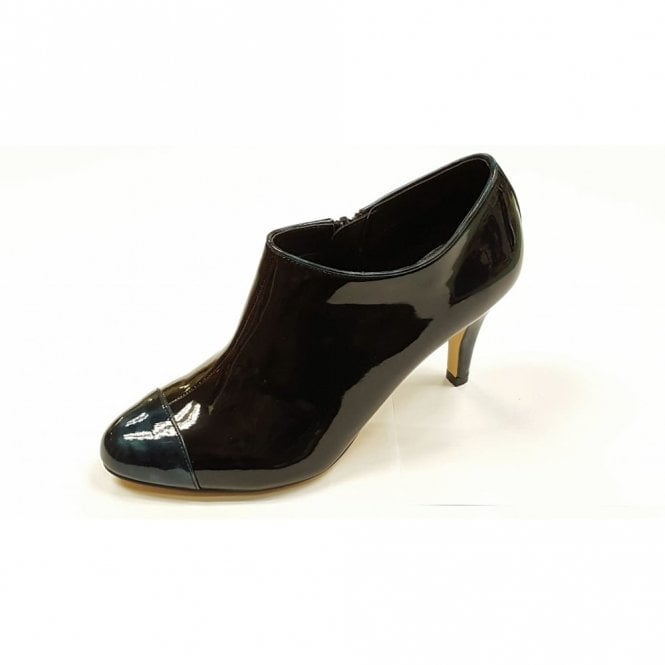 d052dc1a0817 Ilima Black Patent with Navy Patent Print Toe Shoe-Boots