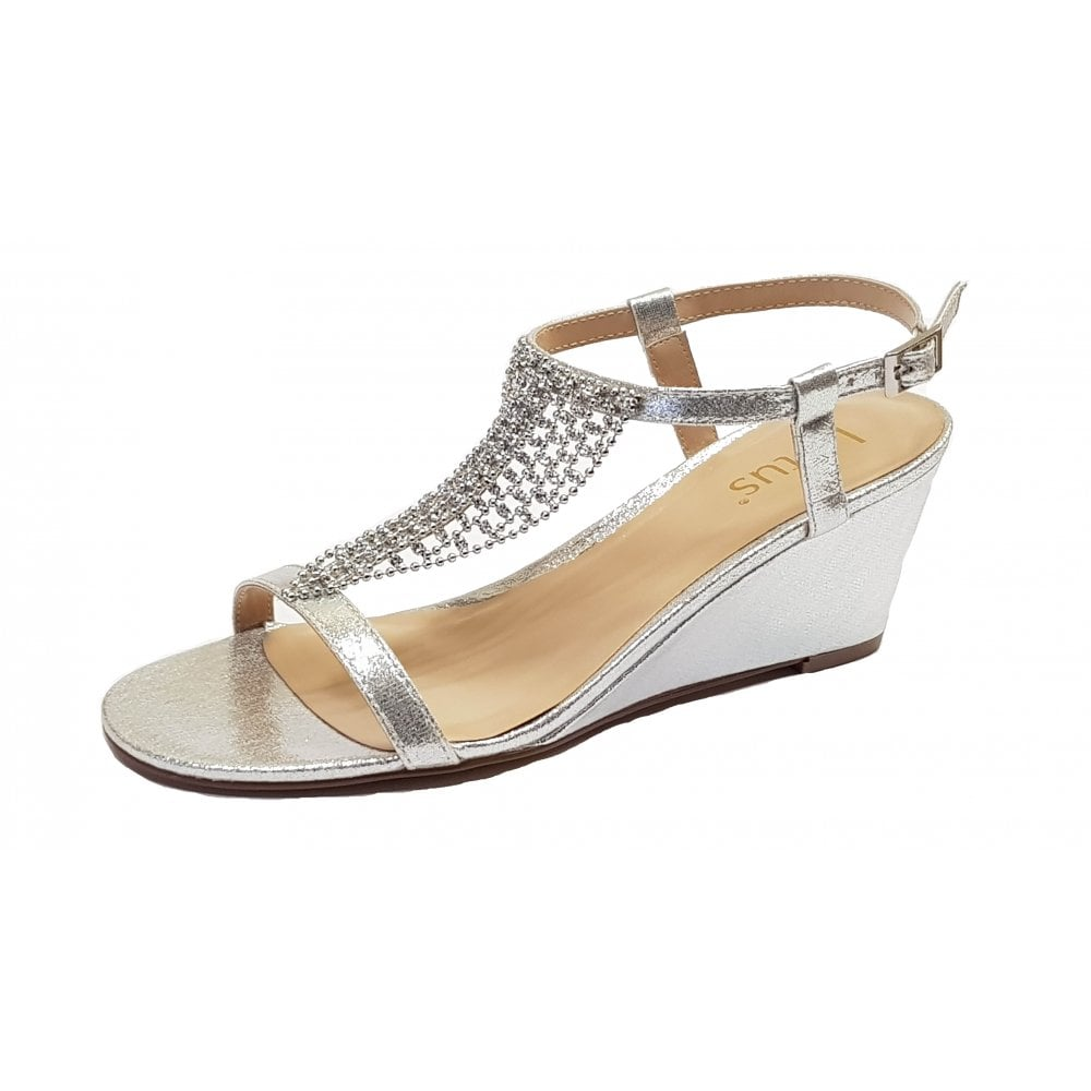 107562110b95f Kassidy Silver & Chainmail Diamantes Wedge Sandals