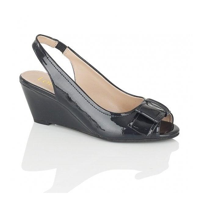 Lorelle Navy Patent Wedge Peep Toe Shoe