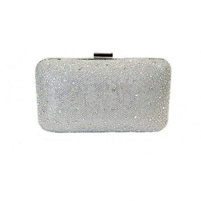shades of finest fabrics newest collection Lule Silver Microfibre & Diamante Clutch Bag